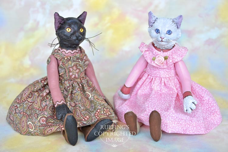 Ida, Original One-of-a-kind Black and White Cat Art Dolls by Max Bailey