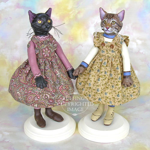 Lucinda, Original One-of-a-kind Black Cat and Maine Coon Cat Art Dolls by Max Bailey