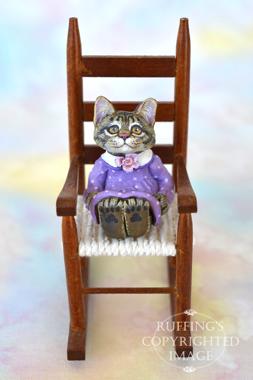 Lucinda, miniature silver tabby Maine Coon cat art doll, handmade original, one-of-a-kind kitten by artist Max Bailey