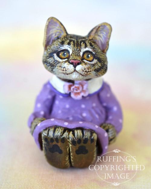 Lucinda, miniature silver tabby Maine Coon cat art doll, handmade original, one-of-a-kind kitten by artist Max Bailey