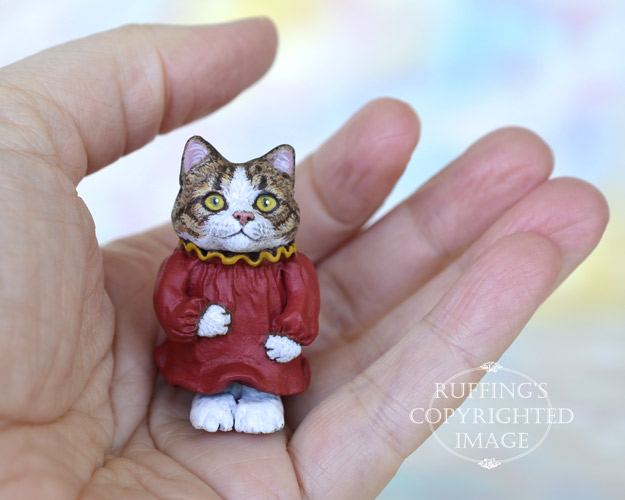 Lucy, Original One-of-a-kind Dollhouse-sized Tabby-and-white Kitten by Max Bailey