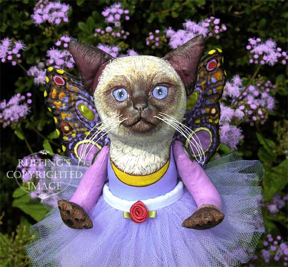 Luna the Pixie Kitten, Original One-of-a-kind Fairy Folk Art Cat Doll by Max Bailey and Elizabeth Ruffing