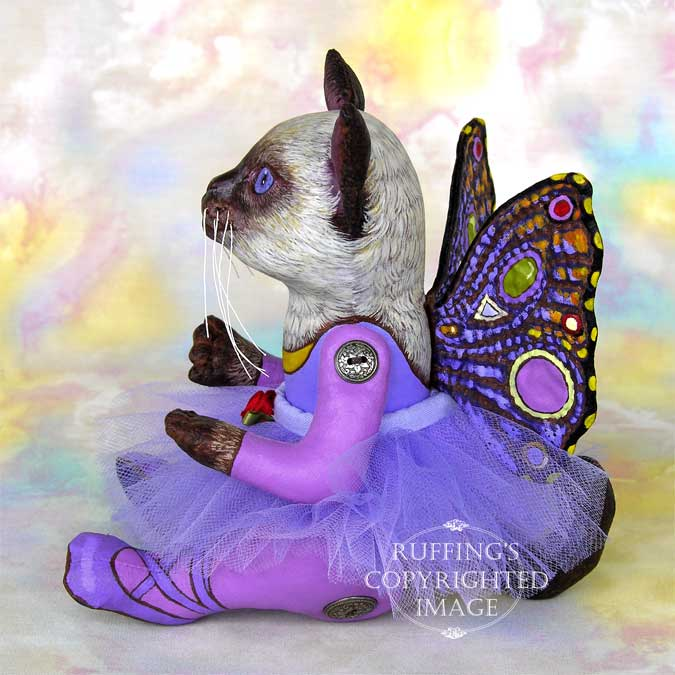 Luna the Pixie Kitten, Original One-of-a-kind Siamese Folk Art Cat Doll by Max Bailey and Elizabeth Ruffing