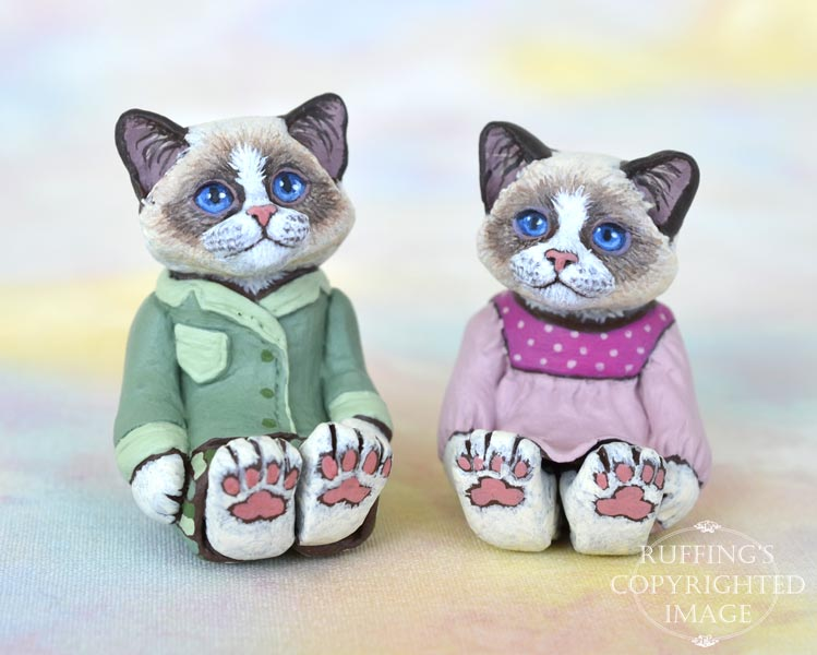 MacKenzie and Murphy, miniature Ragdoll cat art dolls, handmade original, one-of-a-kind kittens by artist Max Bailey