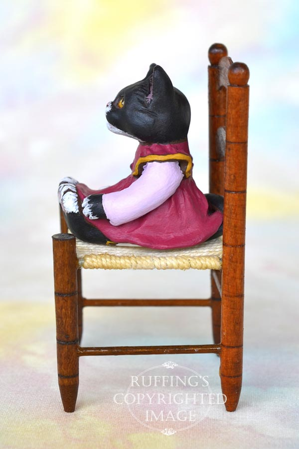 Macy, miniature black-and-white tuxedo cat art doll, handmade original, one-of-a-kind kitten by artist Max Bailey