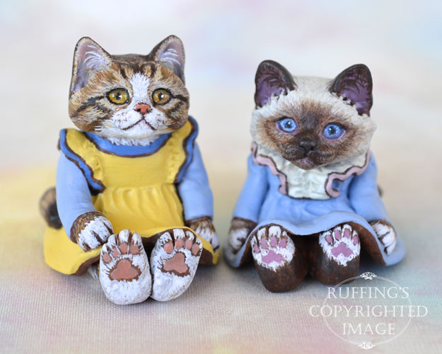Madison and Ava, miniature tabby-and-white and Birman cat art dolls, handmade original, one-of-a-kind kitten by artist Max Bailey