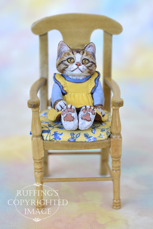 Madison, miniature tabby-and-white cat art doll, handmade original, one-of-a-kind kitten by artist Max Bailey