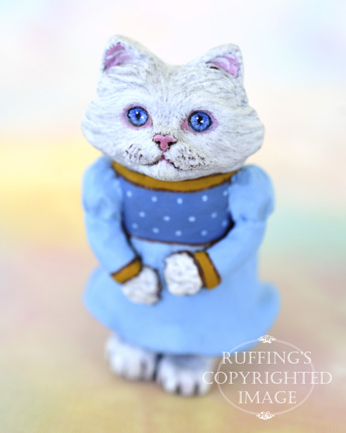 Magnolia, miniature Turkish Angora cat art doll, handmade original, one-of-a-kind kitten by artist Max Bailey