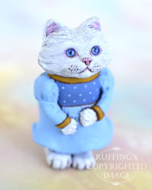 Magnolia, miniature Turkish Angora cat art doll, handmade original, one-of-a-kind kitten by artist Max Bailey