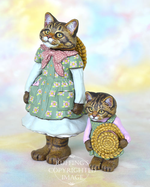 Mandalee, miniature Maine Coon cat art doll, handmade original, one-of-a-kind cat by artist Max Bailey
