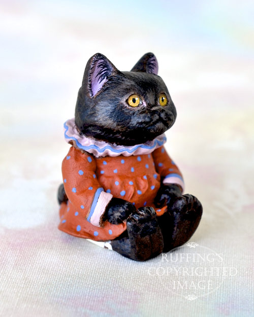 Miniature black cat art doll, handmade original, one-of-a-kind kitten, Mandy by artist Max Bailey