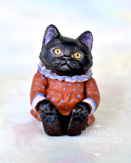 Mandy, Original One-of-a-kind Miniature Black Kitten Art Doll by Max Bailey