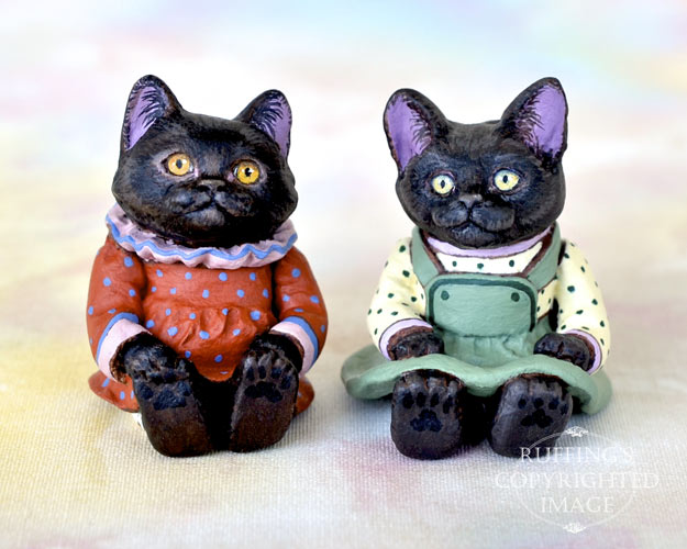 Miniature black cat art dolls, handmade original, one-of-a-kind kittens, Mandy and Jewel by artist Max Bailey