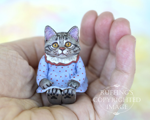 Margaret, miniature Maine Coon cat art doll, handmade original, one-of-a-kind kitten by artist Max Bailey