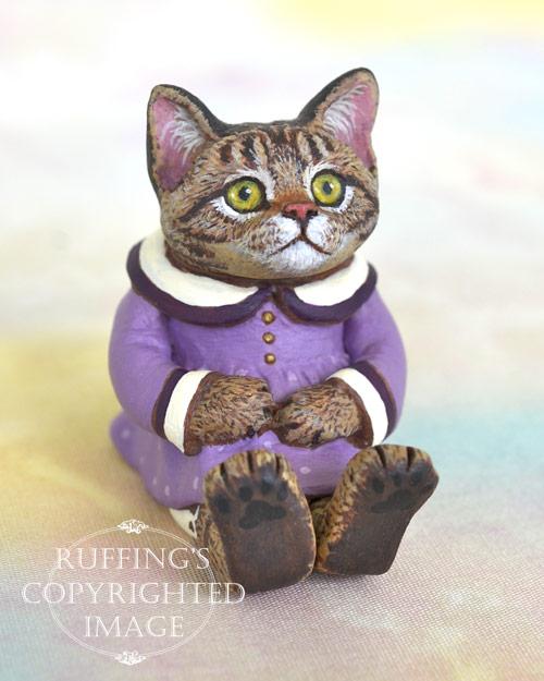 Margo, miniature tabby cat art doll, handmade original, one-of-a-kind kitten by artist Max Bailey