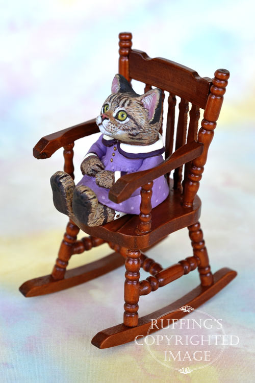 Margo, miniature tabby cat art doll, handmade original, one-of-a-kind kitten by artist Max Bailey