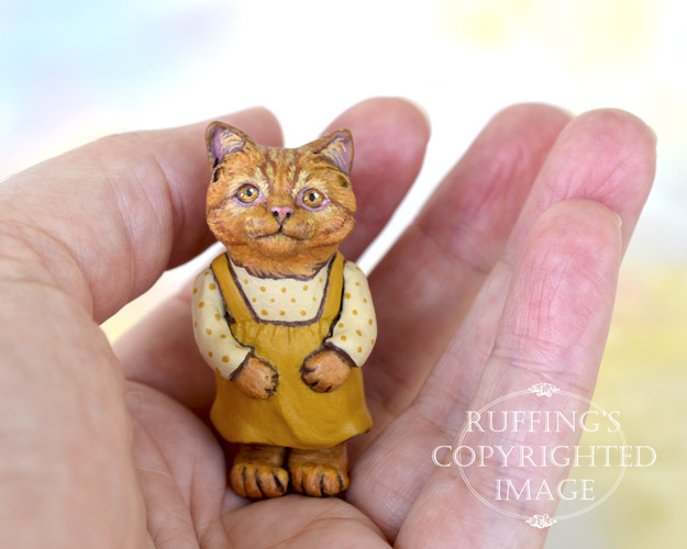 Marigold, Original One-of-a-kind Dollhouse-sized Ginger Tabby Kitten Art Doll by Max Bailey