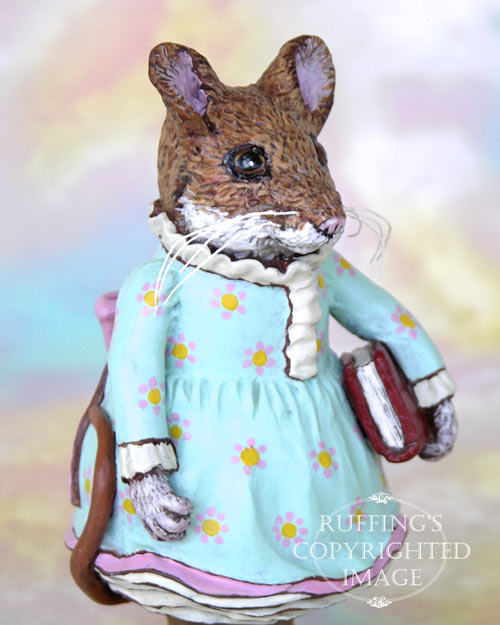 Marla Mouse, Original One-of-a-kind Brown Mouse Folk Art Doll Figurine by Max Bailey