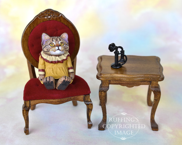 Marley, miniature American Shorthair tabby cat art doll, handmade original, one-of-a-kind kitten by artist Max Bailey