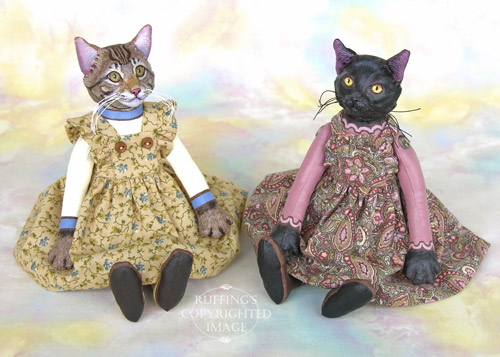 Marnie and Lucinda, Original One-of-a-kind Maine Coon Cat and Black Cat Art Dolls by Max Bailey