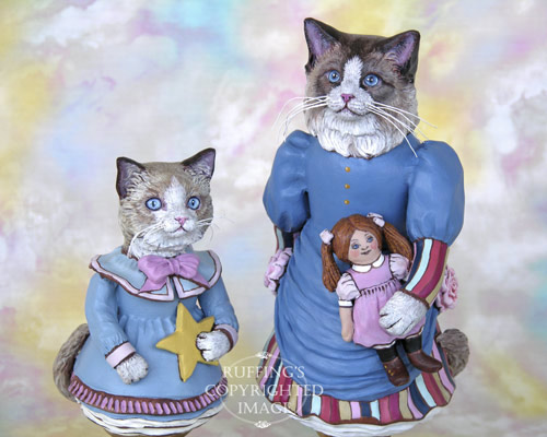 Maryanne the Ragdoll Cat and Felicity the Ragdoll Kitten, Original One-of-a-kind Folk Art Doll Figurines by Max Bailey