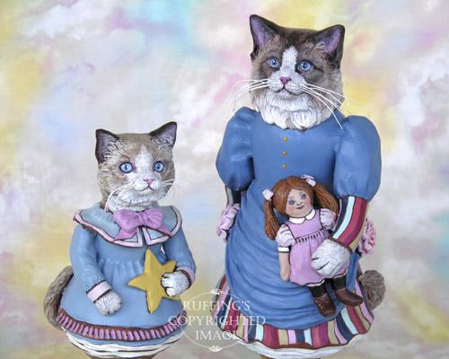 Maryanne the Ragdoll Cat and Felicity the Ragdoll Kitten, Original One-of-a-kind Folk Art Doll Figurines by Max Bailey