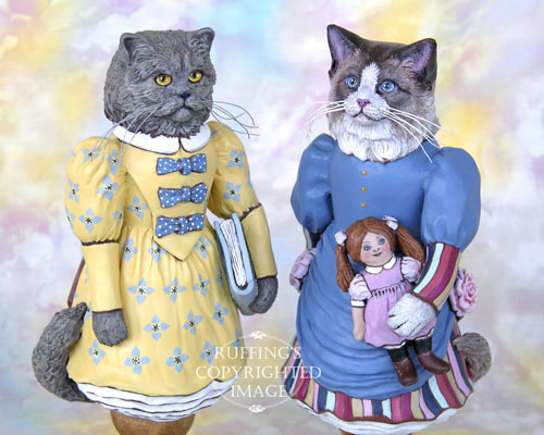 Maryanne the Ragdoll Cat and Hyacinth the Blue Persian, Original One-of-a-kind Folk Art Doll Figurines by Max Bailey