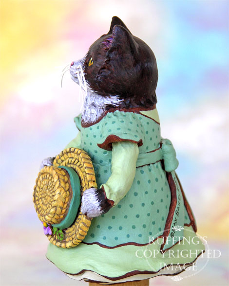 Matilda the Tuxedo Kitten, Original One-of-a-kind Folk Art Doll Figurine by Max Bailey