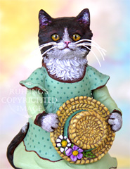 Matilda the Tuxedo Kitten, Original One-of-a-kind Folk Art Cat Doll Figurine by Max Bailey