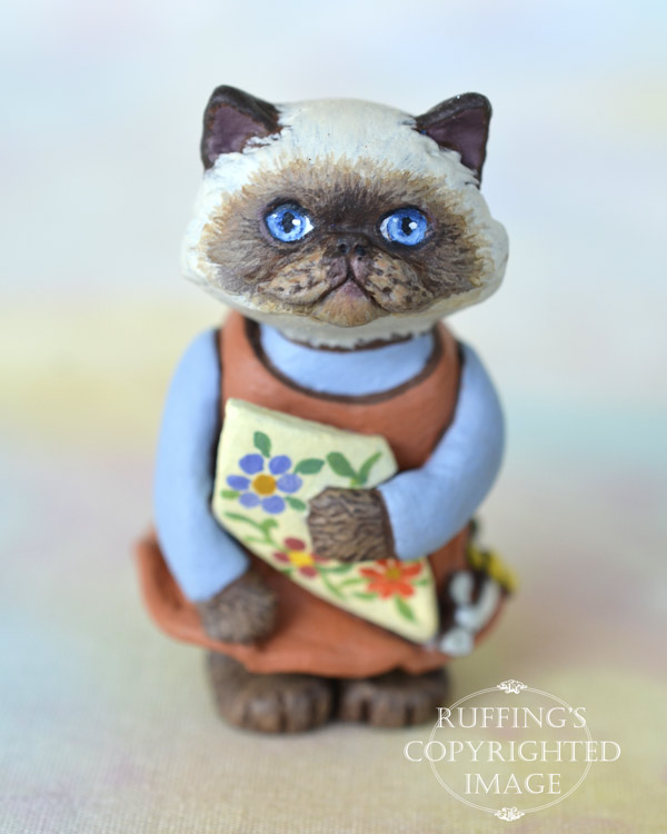Maura, miniature Himalayan cat art doll, handmade original, one-of-a-kind kitten by artist Max Bailey