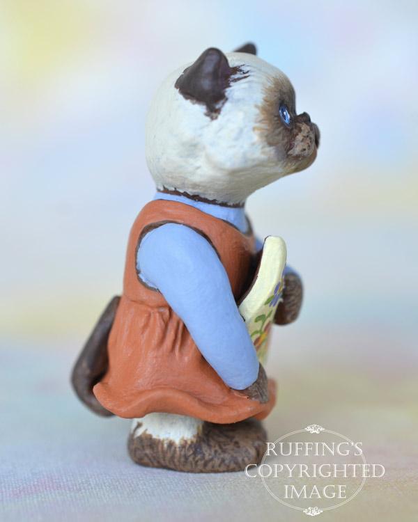 Maura, miniature Himalayan cat art doll, handmade original, one-of-a-kind kitten by artist Max Bailey