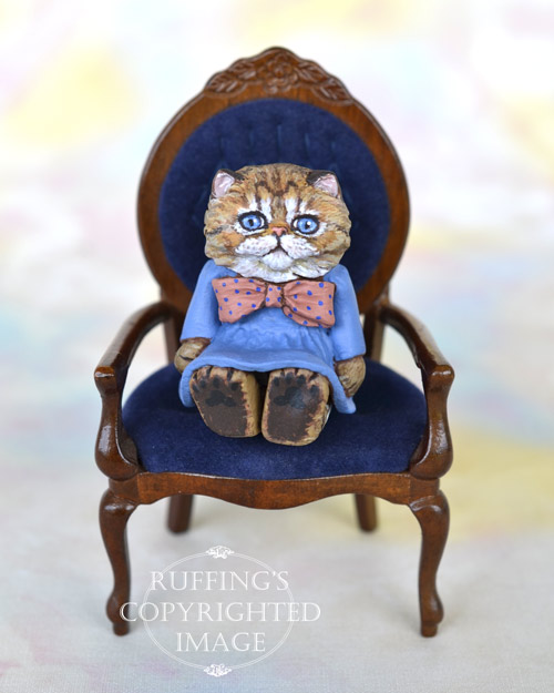 Maureen, miniature Persian tabby cat art doll, handmade original, one-of-a-kind kitten by artist Max Bailey