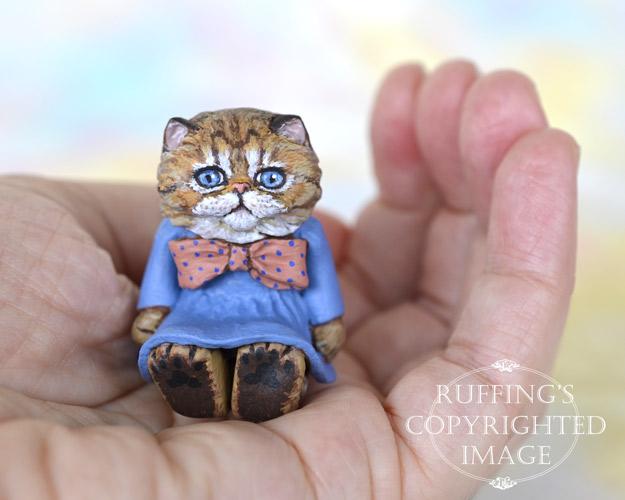 Maureen, miniature Persian tabby cat art doll, handmade original, one-of-a-kind kitten by artist Max Bailey