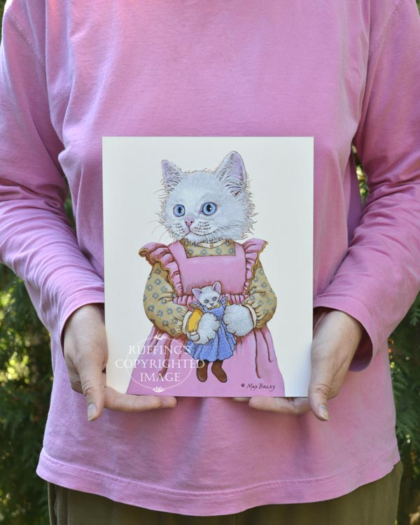 Alice the White Cat, fine art kitty cat in pink dress with a doll print by artist Max Bailey