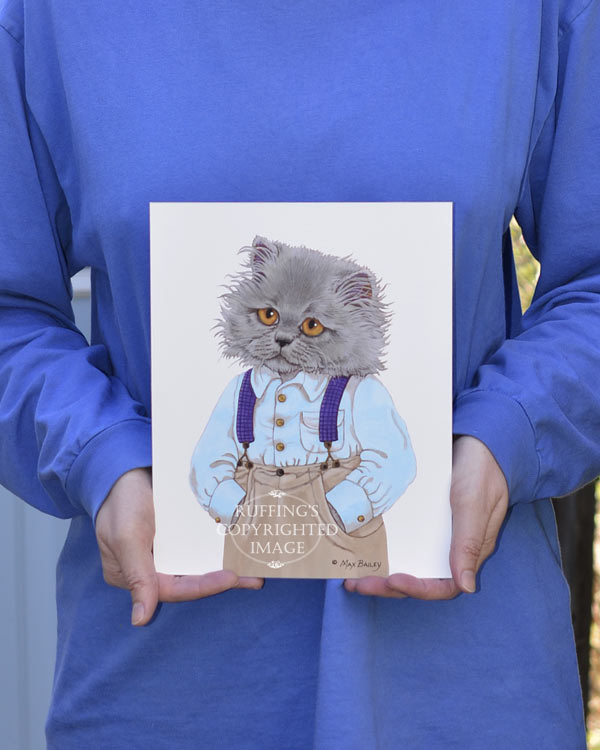Herman, Blue Persian anthropomorphic kitty cat art print by artist Max Bailey