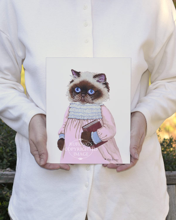 Louisa the Himalayan Cat, fine art kitty cat in pink dress with a library book print by artist Max Bailey