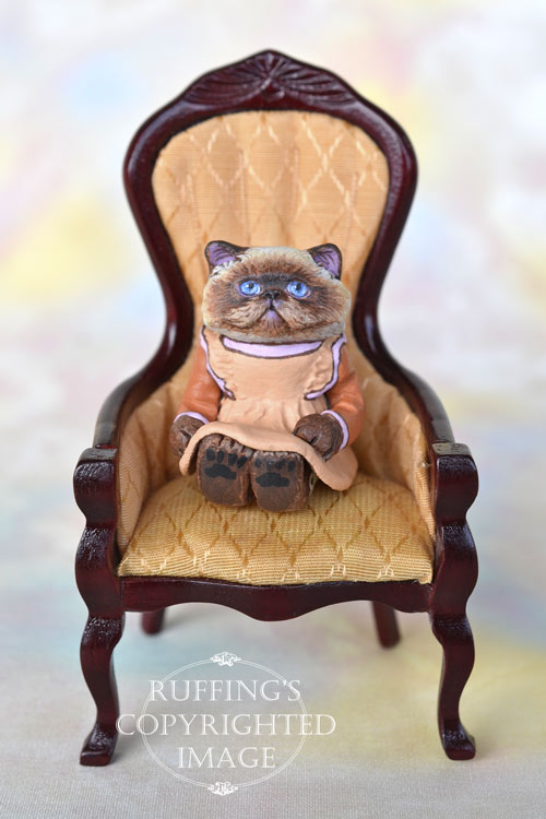 Maxine, miniature Himalayan cat art doll, handmade original, one-of-a-kind kitten by artist Max Bailey