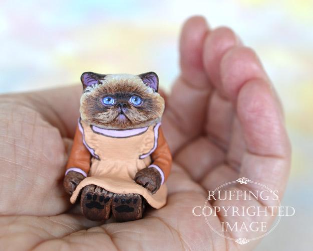 Maxine, miniature Himalayan cat art doll, handmade original, one-of-a-kind kitten by artist Max Bailey