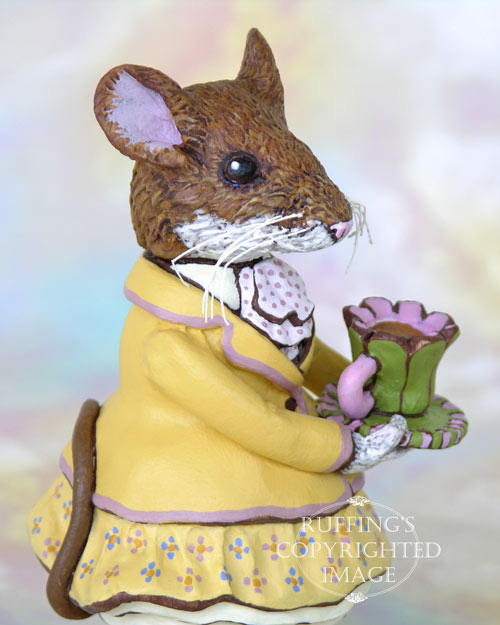 Maybelle Mouse, Original One-of-kind Brown Mouse Folk Art Doll Figurine by Max Bailey