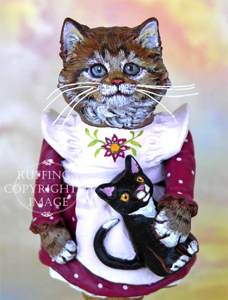 Claudia the Maine Coon Kitten, Original Folk Art Cat Doll Figurine by Max Bailey