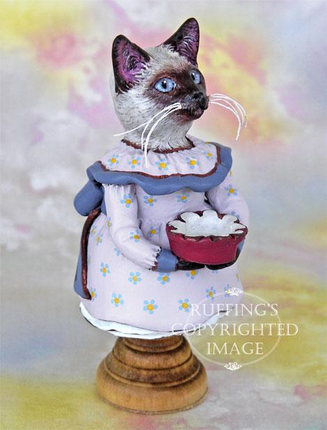 Crocus the Siamese Kitten, Original One-of-a-kind Folk Art Cat Doll Figurine by Max Bailey