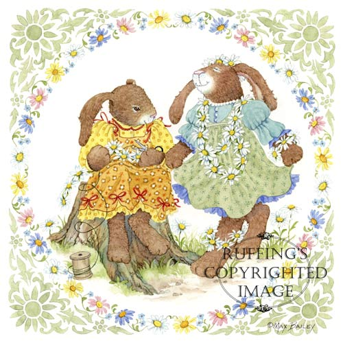 Daisy Chains Bunny Rabbit Print by Max Bailey
