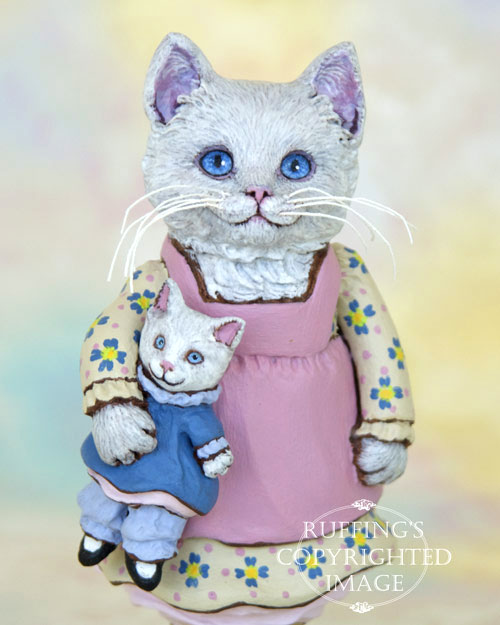 Jessie and Jeanie, white kitten folk art doll figurine by Max Bailey