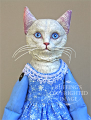 Snowbelle, Original One-of-a-kind Turkish Angora Cat Art Doll with Hand-painted Sled by Max Bailey