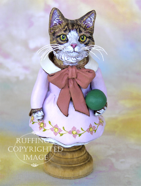 Tabitha the Tabby Kitten, Original One-of-a-kind Folk Art Cat Doll Figurine by Max Bailey