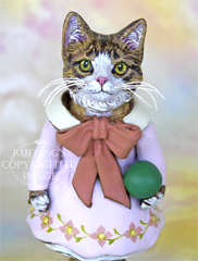 Tabitha the Tabby Kitten, Original One-of-a-kind Folk Art Doll Figurine by Max Bailey