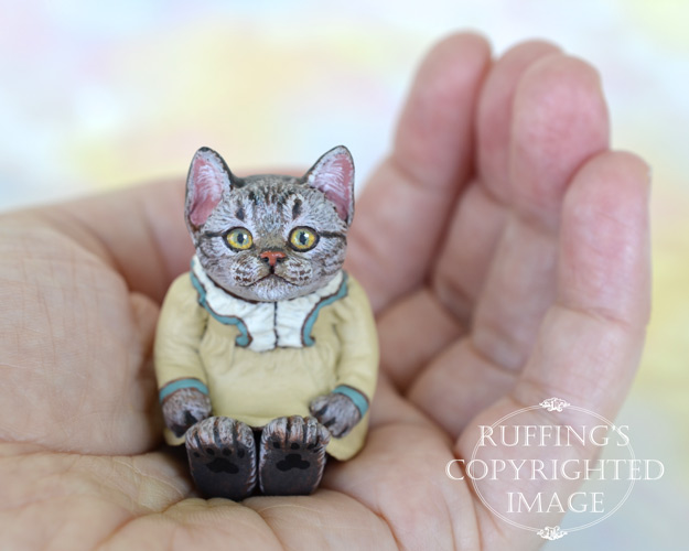 Megan, miniature American Shorthair tabby cat art doll, handmade original, one-of-a-kind kitten by artist Max Bailey