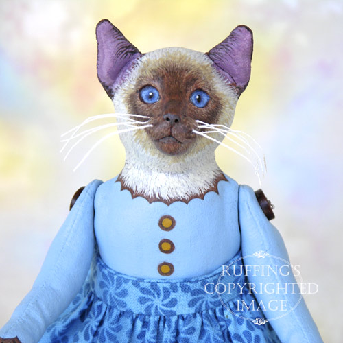 Melody, Original One-of-a-kind Folk Art Siamese Cat Doll by Max Bailey