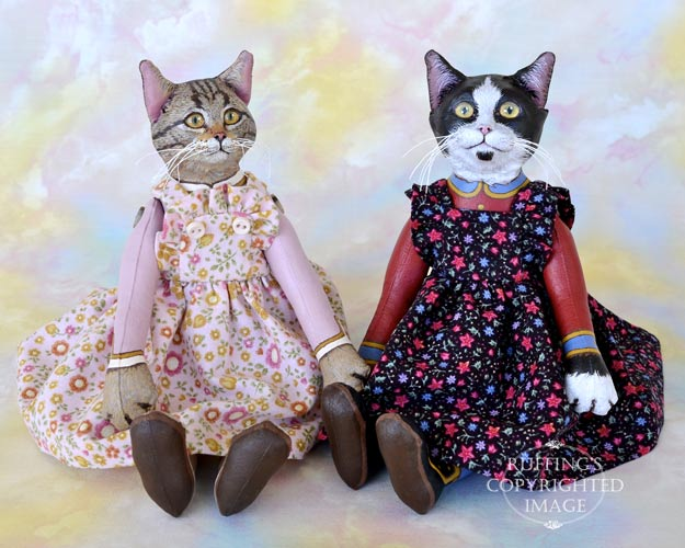 Meredith and Echo, Original One-of-a-kind Tabby and Black and White Tuxedo Cat Art Dolls by Max Bailey