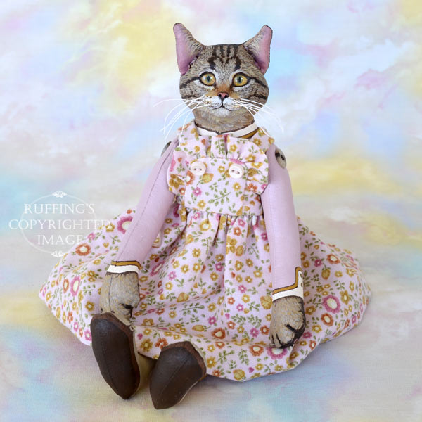 Meredith, Original One-of-a-kind Tabby Cat Art Doll by Max Bailey